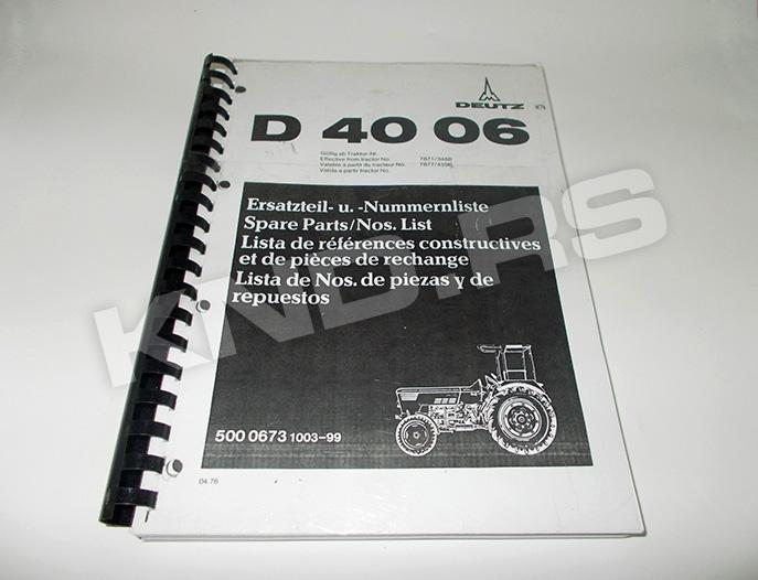 Katalog rezervnih delova Deutz 4006 SRB